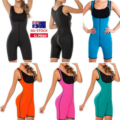 AU Women Neoprene Sauna Sweat Bodysuit Shapewear Full Body Shaper Sport Gym Vest