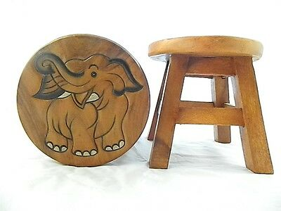 Childs Childrens Wooden Stool - Elephant Natural Step Stool