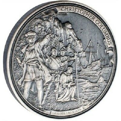 2015 $5 - Journeys of Discovery-Christopher Columbus-2 oz Silver coin - NZ Mint