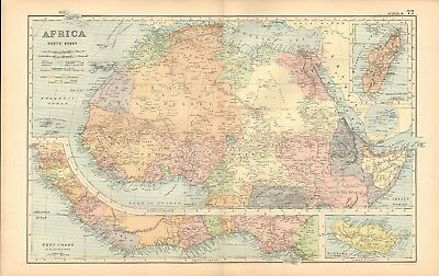 1893 Antique Map - Africa North, West Coast, Madeira, Madagascar
