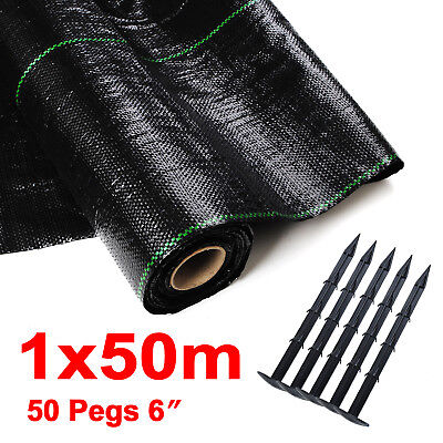 100GSM 1m x 50m Weed Control Free 50 Pegs Ground Cover Membrane Landscape Garden