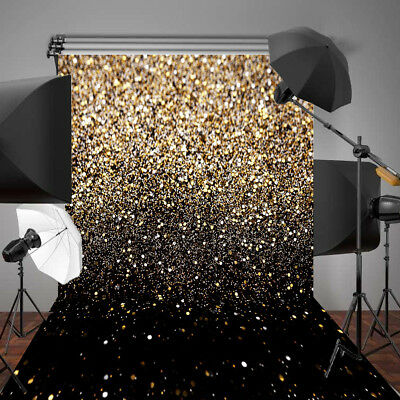 UK 5x7FT Party Glitter Black Gold Dots Photo Studio Backdrop Background Props