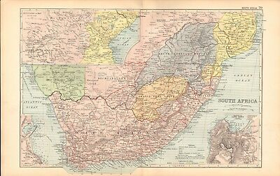 1893 Antique Map - South Africa, Cape Town, European Possessions