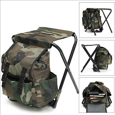 2in1 Folding Fishing Stool Backpack Seat Chair Hunting Sports Bag Camping SY