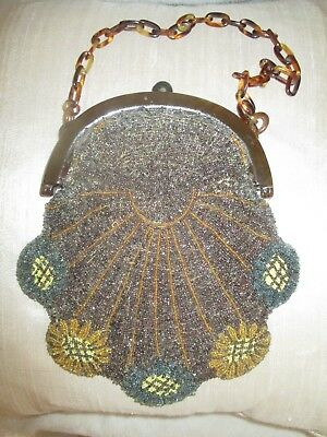 Extravagant 1920´s lady´s purse. Glass beads, celluloid frame/ chain France