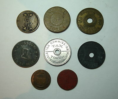 Lot of 8  - Vintage  Luxury Tax Token / Coins No Reserve