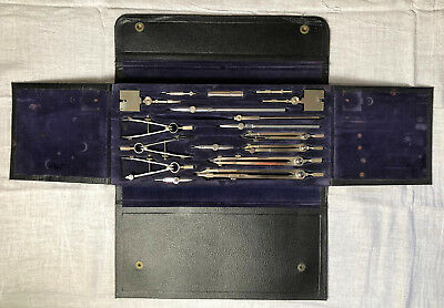 Vintage Engineers Drafting Set Drawing Set Stainless Steel in Leather Case