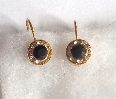 Goldtone Metal Clear and Black  Crystal Earrings for Pierced Ears