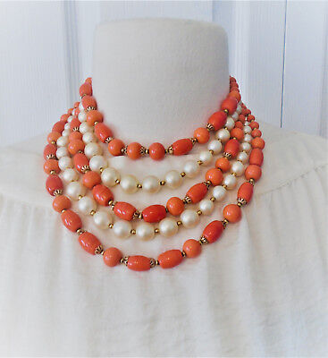 Unsigned Kramer Faux Pearl and Coral Glass Bead Five Strand Necklace 15 in.
