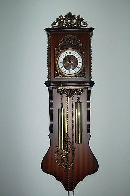"Vintage Large 42"" Ornate Pendulum & Finial Wall Clock Handcrafted Wood w/Weights"