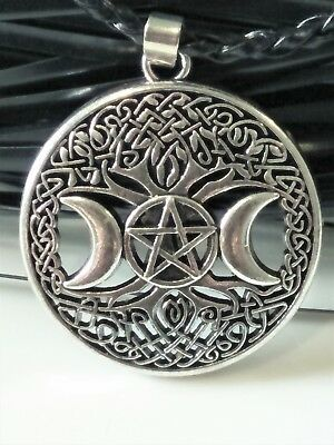Pagan Celtic Yggdrasil Tree Of Life Moon Pewter Pentagram on PU Leather Necklace