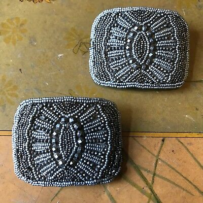 Pair of Antique Victorian Beaded & Riveted Cut Steel Shoe Buckles Clips