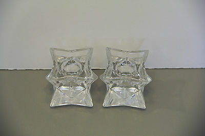 Pair of Crystal Glass Candlestick Holders Geometric Design - Unknown Maker