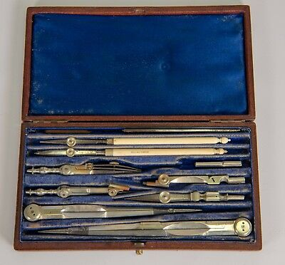Harling London Antique Mathematical Instrument Drafting Drawing tool set in box