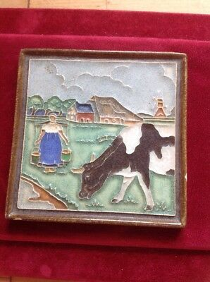Old Vintage Royal Delft Friesland Pottery Tile Milkmaid And Cow