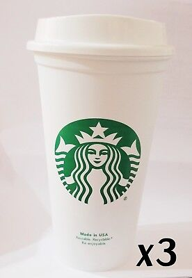 STARBUCKS Reusable Recyclable Grande 16 OZ Plastic Coffee Cup X3