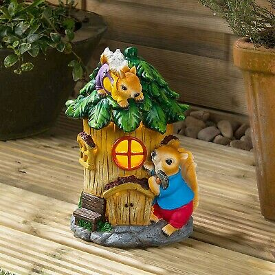 Solar Powered Squirrel Fairy House LED Garden Light Outdoor Ornament Dwelling
