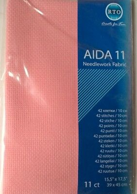 11 COUNT AIDA FABRIC CROSS STITCH PINK, 39 x 45cm