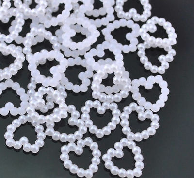 50 Cute Pearl Hearts – Great For DIY Art & Craft/ Sewing Projects