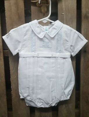 Feltman Brothers Baby Boys White Blue Train Romper Bubble One Piece 9Mo.MSRP $46