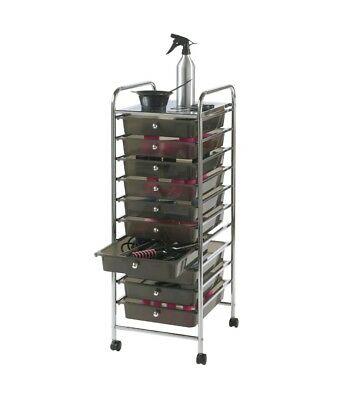 Modern 10 Drawer Mobile Storage Trolley for Home Office or Beauty Salon Black
