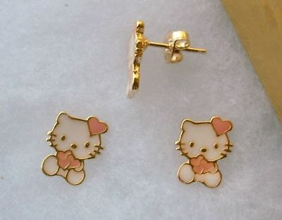 18k Gold Filled Pink Enamel Hello Kitty Heart Stud Earrings Girls