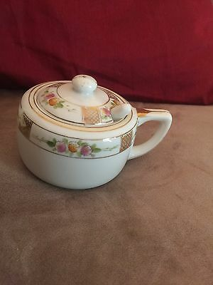 Handpainted Nippon Flower Sugar Bowl With Gold Trim  Lid And Spoon