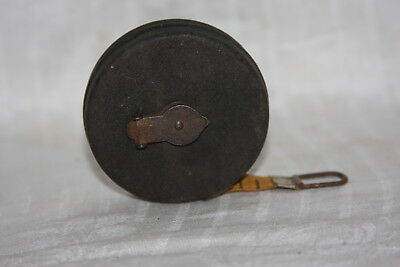 Vintage Walsco 25 Foot tape Measure Metal Casing Cloth Tape Wind Retractable