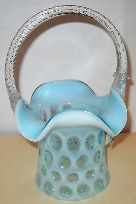 "Fenton Blue Opalescent Coin Dot Basket 8 1/2""  New In Box"