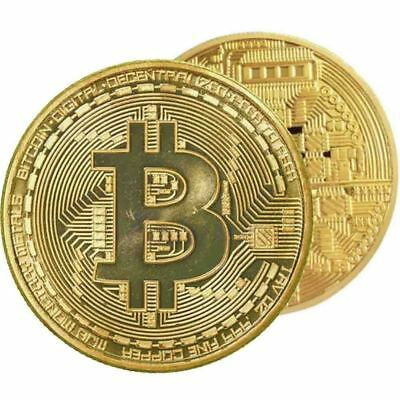 1 PCs Gold Bitcoin Commemorative Collectors Coin Bit Coin is Gold Plated Coin