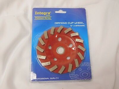 "Integra 5"" Concrete Turbo Diamond Grinding Cup Wheel for Angle Grinder 16 Segs"