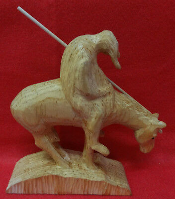 """Pair of Frank Updegrove Folk Art Wood Carvings after """"End of Trail"""" 1981"""
