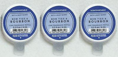 3 Bath & Body Works Scentportable BOW TIES BOURBON Refill Discs Car Freshener