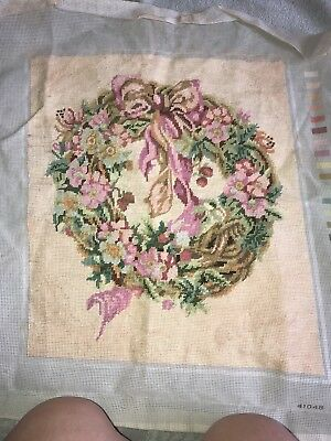 Antique Victorian Wool Hand Stitched Floral Design Tapestry.