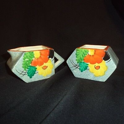 Vintage Art Deco Small CREAMER MILK JUG & SUGAR BOWL Hand Painted Beauchin Japan