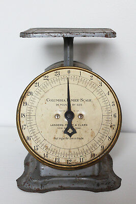 Vintage Columbia Family Scale - Gray and Brass Kitchen Scale