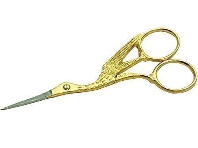 "Stork 4"" Gold Scissor For Embroidery,craft & Sewing, Manicure, Nail Art"