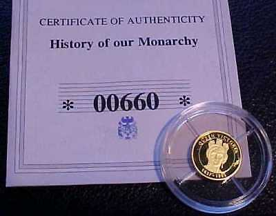 Proof .999 Pure Solid Gold Ltd Issue = Queen Victoria 2008 Tiny Coin Of Monarchy