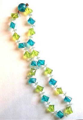 Vintage Turquoise Blue & Lime Green Acrylic Bead Necklace Austria 23 in.