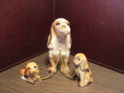 Vintage Dog Figurines - Chained Trio - Springer Spaniel Mother & 2 Pups - Puppy