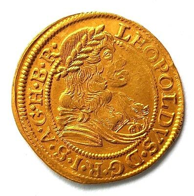 1 Ducat 1676 Leopold I, Holy Roman Empire, Medieval Gold Coin, Rare