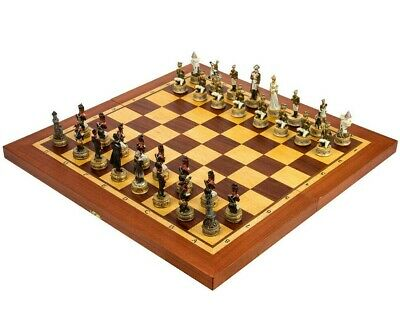 "Wooden Hand Carved Chess 20"" Board Hand-made in Russia Battle by Borodino Theme"