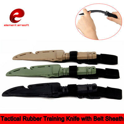 Tactical Rubber Training Knife with Belt Sheath For Airsoft Prop Wargame Plastic