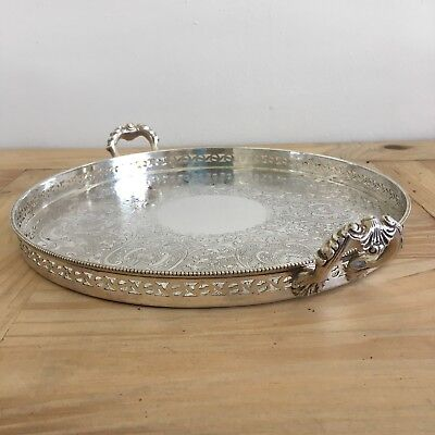 Vintage Round 10.5 Inch Silver Plate On Copper Gallery Champagne Handled Tray