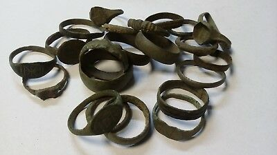 Lot of 22 bronze roman medieval rings. Ancient artifacts.