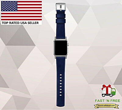 Nomad Horween Leather Band Navy Blue Leather Silver Lugs for Apple Watch 42mm