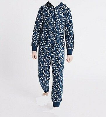 Boys M&S World Cup Football Cotton Onesee1 All In One Pyjamas 11-16 NEW