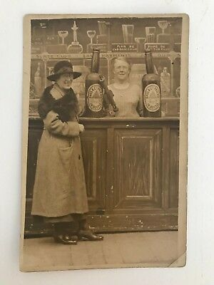 Early 1900s Postcard Victorian of two women, pub interior Bass & Co