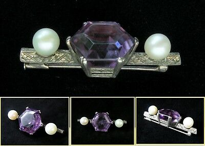 Huge 20mm solitaire AMETHYST and twin PEARL1910s Edwardian silver pin bar brooch