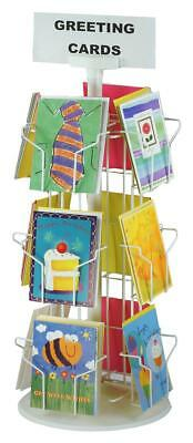 Greeting card display rack tier card stand countertop greeting white 12 pocket rotating 5 x 7 greeting card counter display w sign m4hsunfo